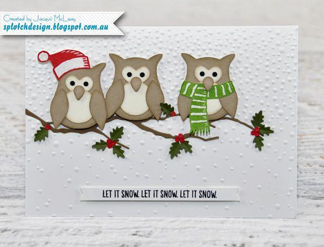 Splotch Design - Jacquii McLeay Independent Stampin' Up! Demonstrator: Owl Builder Christmas Card