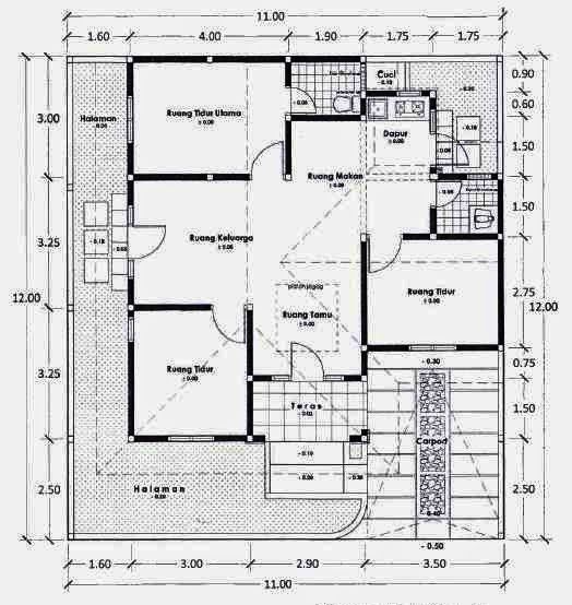 Denah Rumah Minimalis 4 Kamar Tidur Google Search In 2021 Brick House Plans House Projects Architecture House Plans