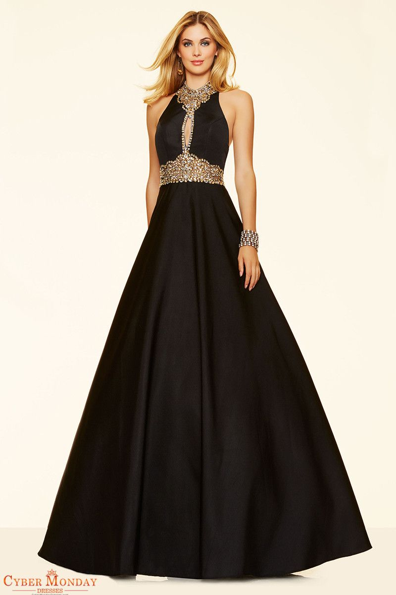 2016 A Line Prom Dresses High Neck Satin With Beads And Rhinestones ...