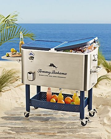 Deluxe Stainless Steel Rolling Party Cooler | Tommy Bahama