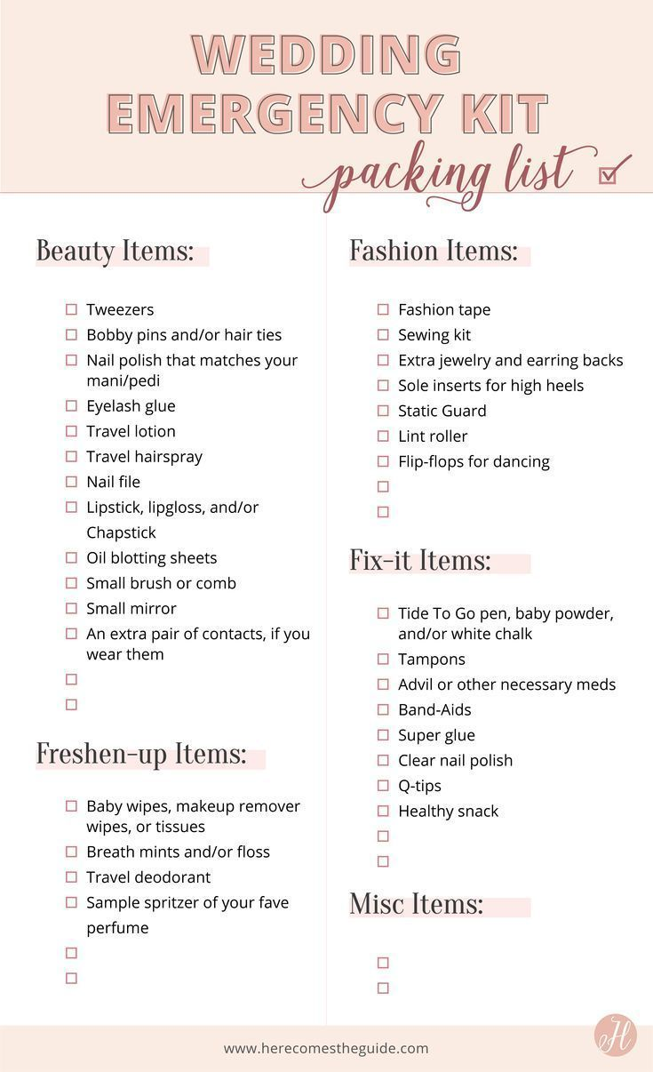 Why You Need a Wedding Day Emergency Kit + Checklist of What To Include - #checklist #Day #Emergency #Include #kit #Wedding