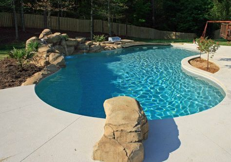 Fantastic vinyl pool with swim up bar and waterfall http - Crystal pools waterfall ...