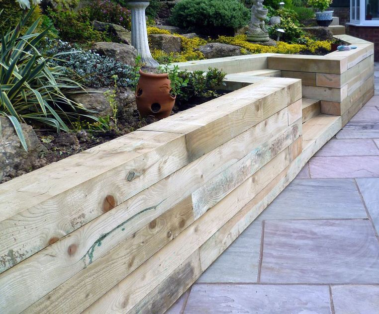 Image Result For Vertical Oak Sleeper Retaining Walls