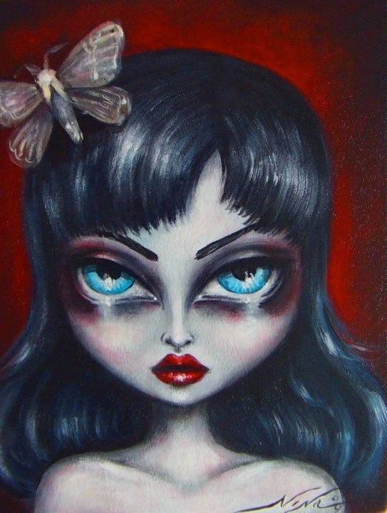 ADELA big eye gothic fairy girl with moth NINA by ninafriday, $43.00