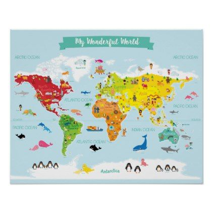 Bright Kids World Map With Illustrations Poster Kids Stuff