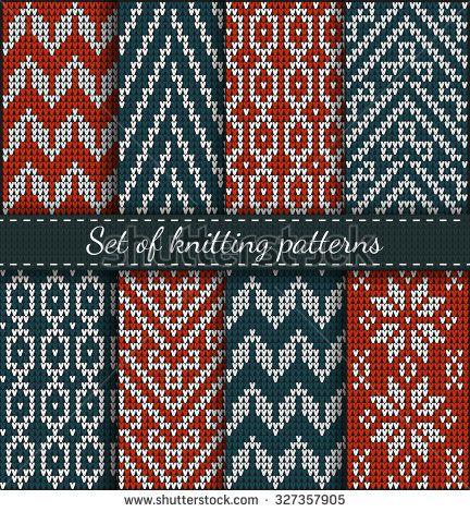 Conjunto de diseño del suéter del patrón Feria en la textura de tejidos de lana…
