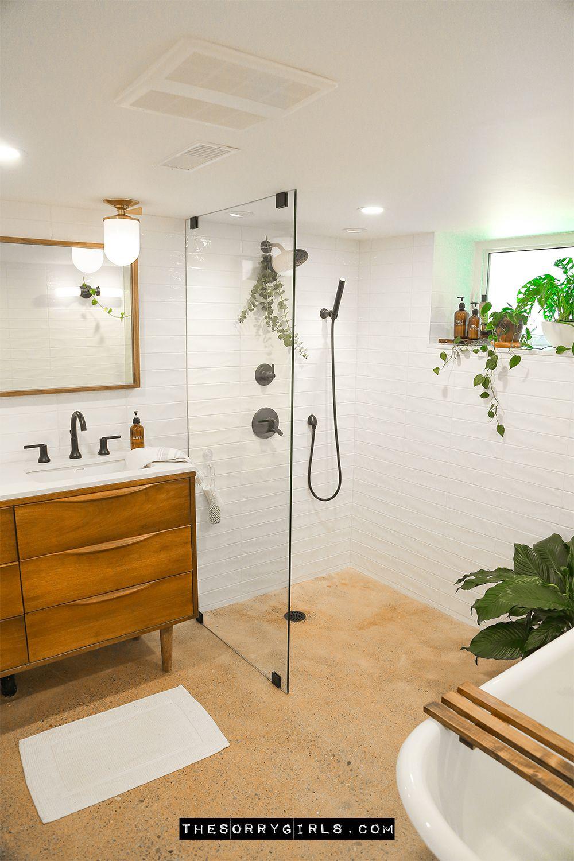 Complete Dream Spa Basement Bathroom Makeover Making Home The Sorry Girls In 2020 Basement Bathroom Remodeling Bathrooms Remodel Bathroom Makeover