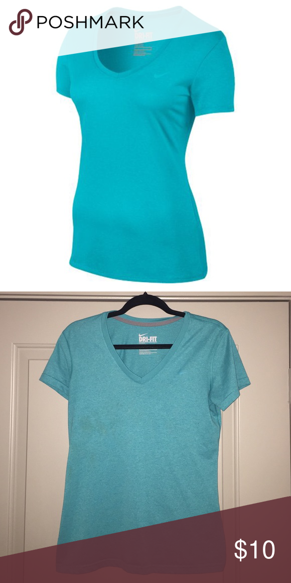Nike Women's Legend V Neck Teal Dri-Fit Tee This is a Nike Women's Legend Dri-Fit V Neck Tee. Is has been worn a couple of times and is in excellent condition. The color is a light teal/turquoise color. Nike Tops Tees - Short Sleeve