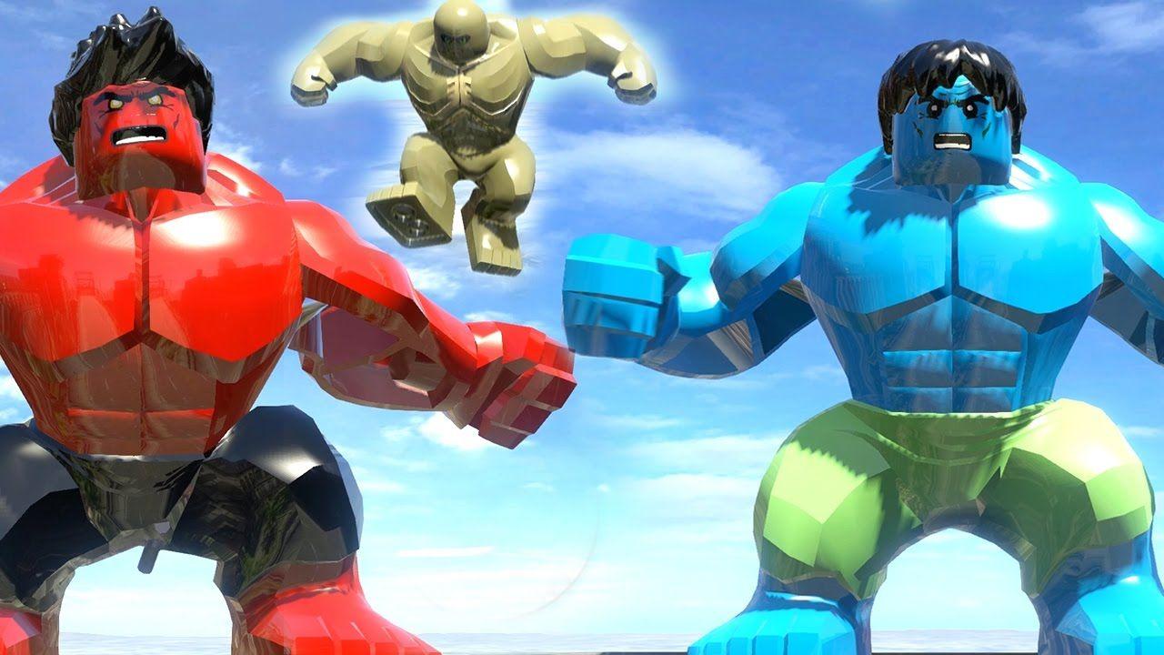 abomination vs red hulk vs blue hulk transformation lego