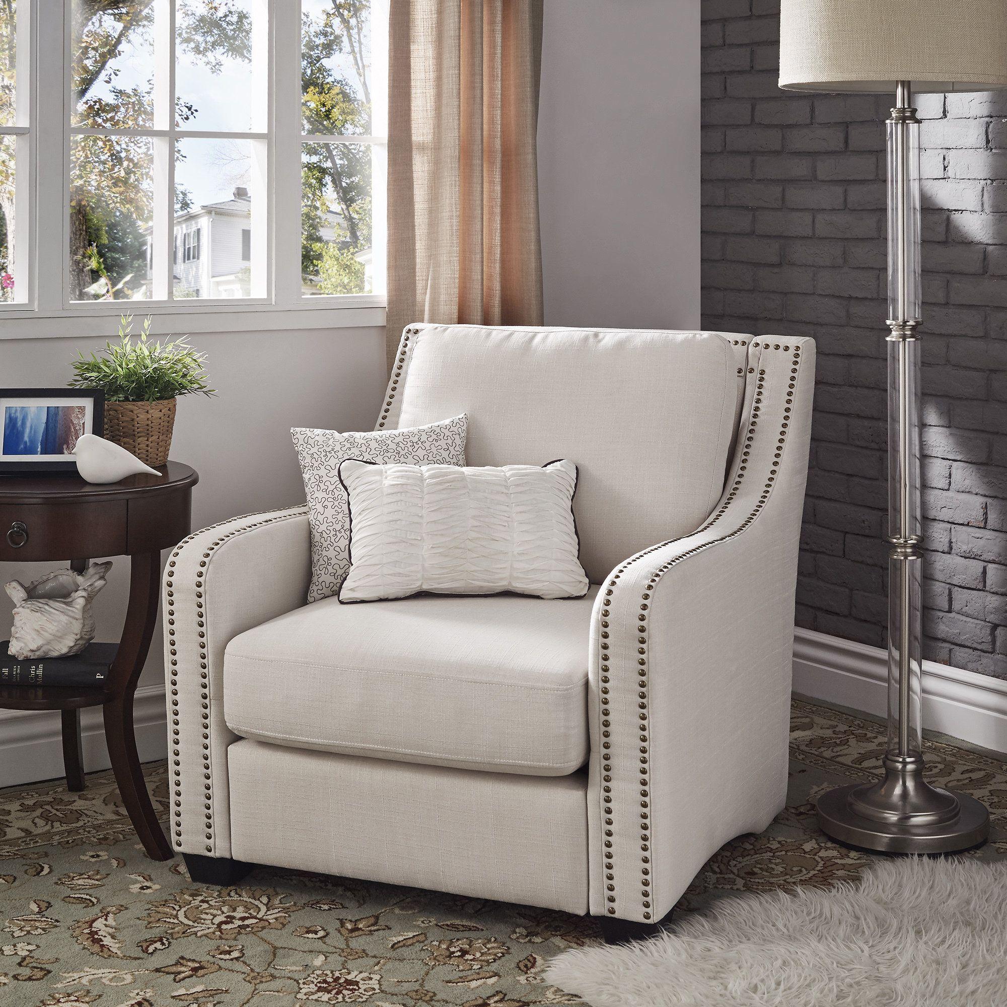 Faizah White Linen Nailhead Sloped Arm Chair by iNSPIRE Q
