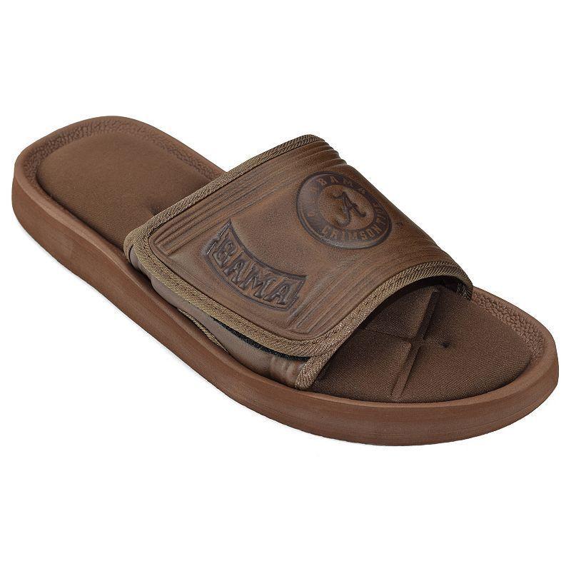 Adult Alabama Crimson Tide Memory Foam Slide Sandals Size Large Brown