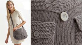 Doux comme un coussin, ce sac est tricoté en jersey endroit, point mousse, côtes 1/1 et côtes 2/2. Dimensions : L : 35 cm h : 24 cm Le matériel Fil à tricoter qualité Salsa, coloris 306 ...