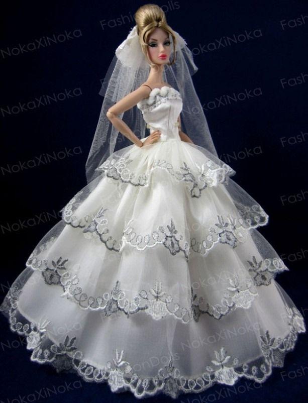Barbie Noiva ~ Vestido De Noiva Para Boneca Barbie Luxo E Glamour R$ 29,90 no MercadoLivre Dolls Barbie