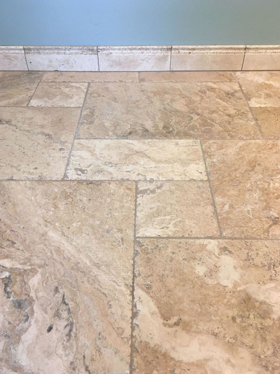 Byzantine Chiseled Versailles Pattern Brushed Chiseled With Ivory 4x12 Baseboard Travertine Tile Travertine Tile Bathroom Travertine