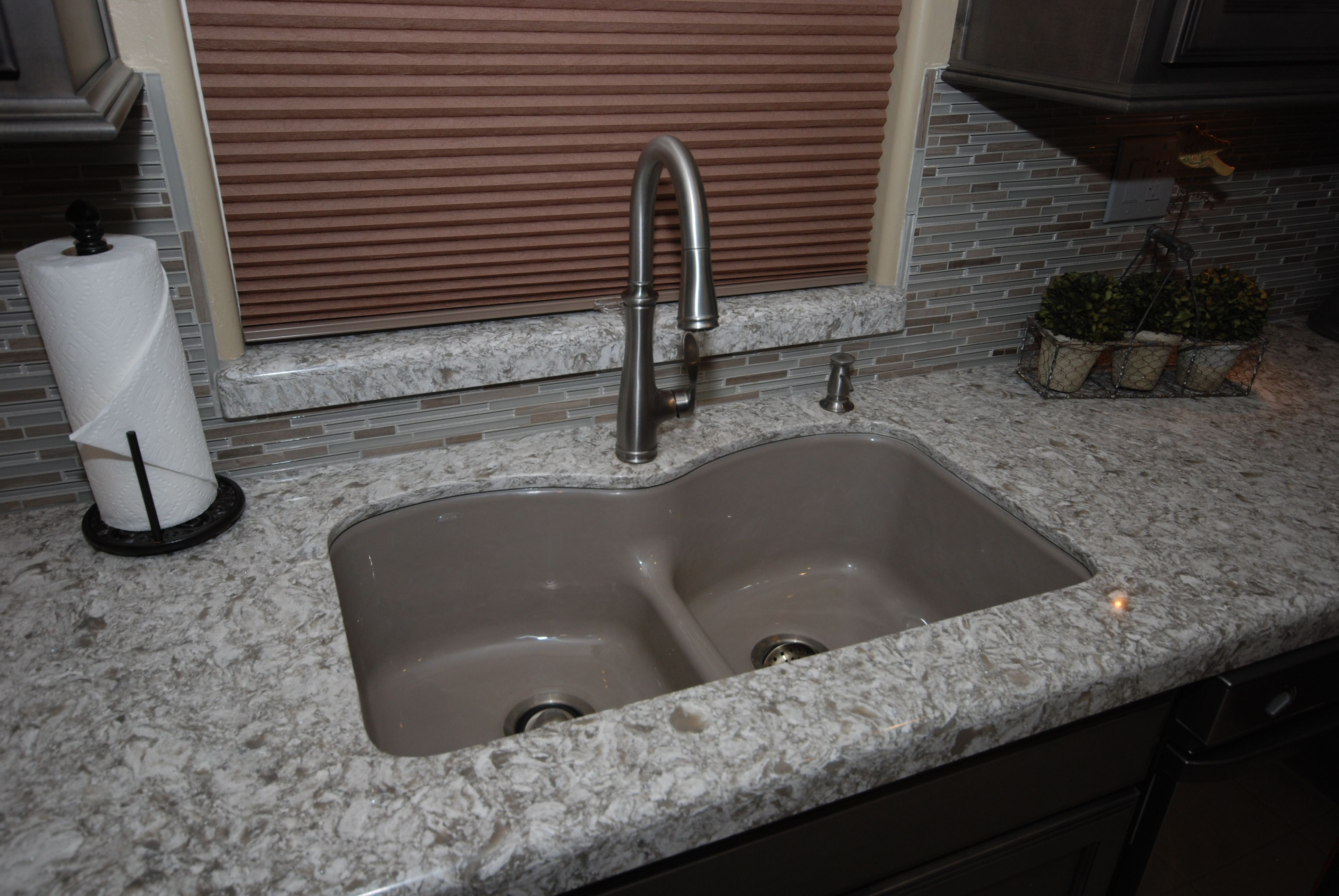 Kohler Langlade In Cashmere with Bellera In Vibrant Stainless In