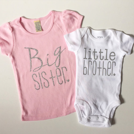 d8a6a7611bce Big sister and little brother matching shirts by PaisleyPrintsSpokane