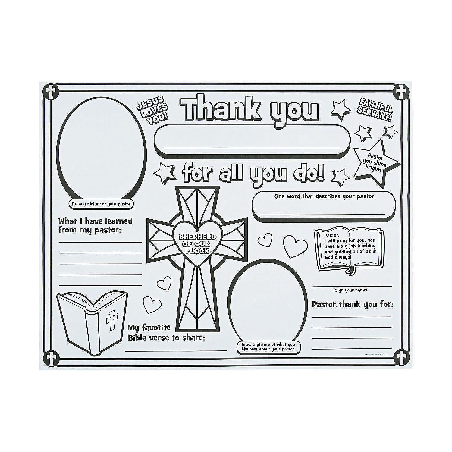Color Your Own All About My Pastor Posters