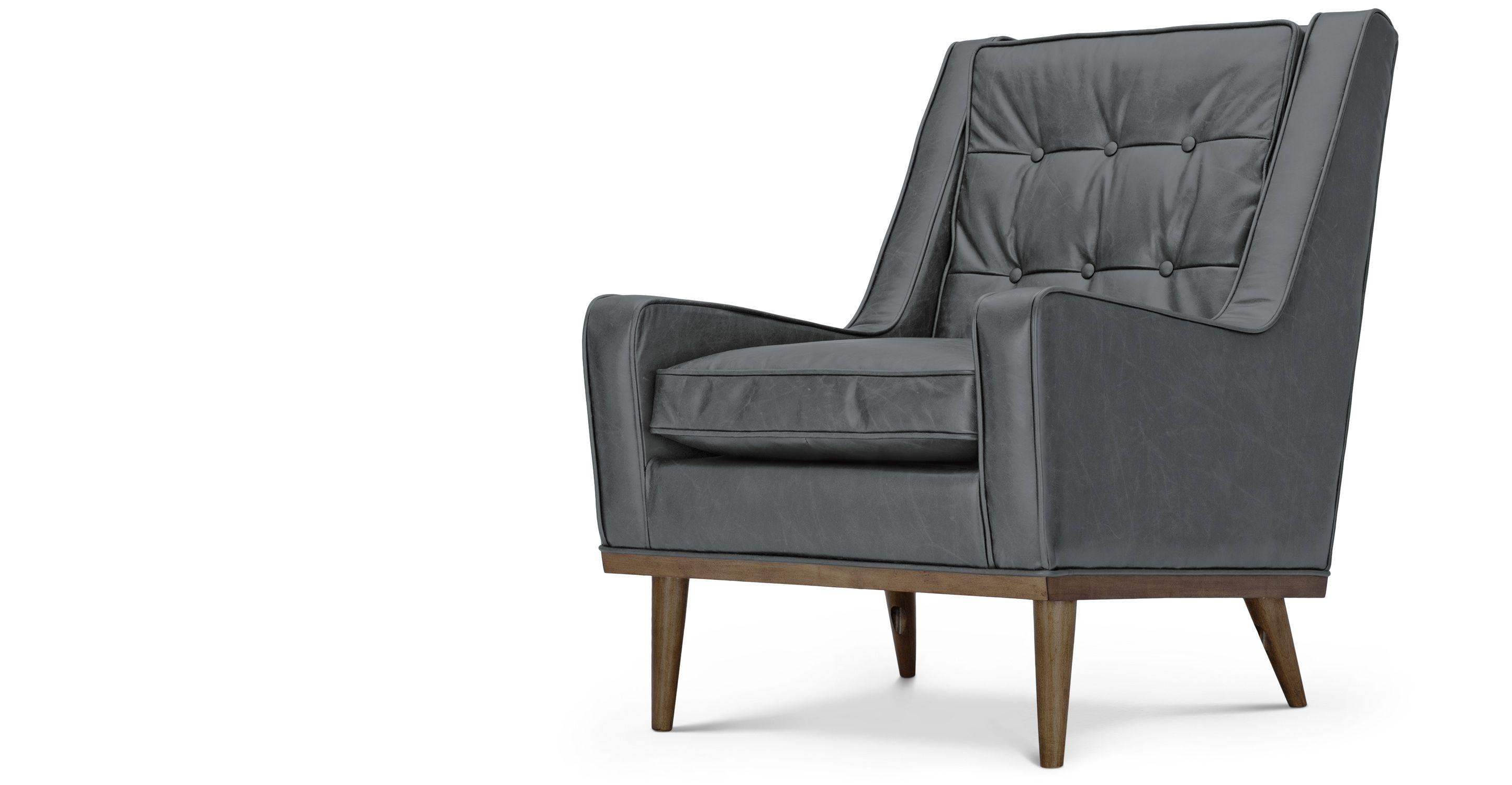 Armchair in Oxford Grey Premium Leather Scott