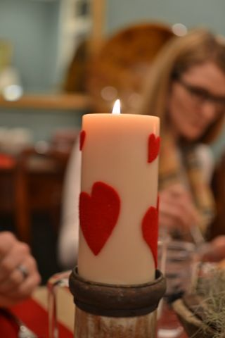 Valentine's candles - cut out sticky felt and pop it on the candle...