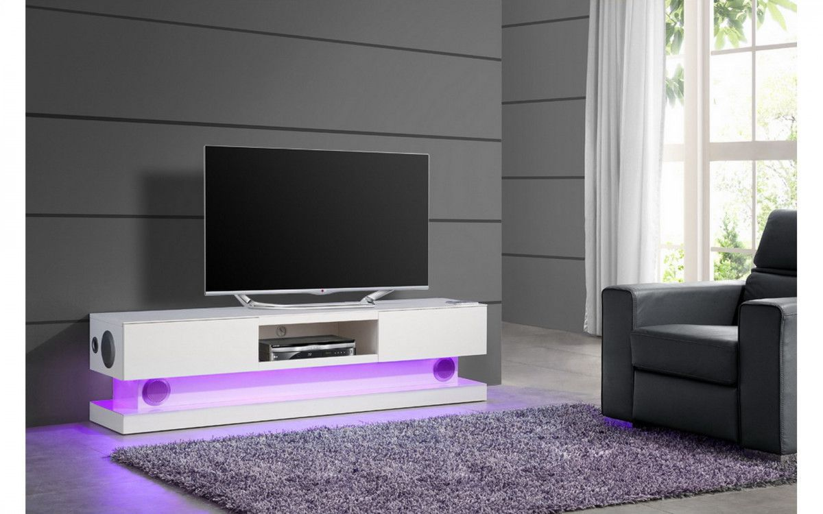 Meuble Tv Design Blanc Laque Avec Eclairage Led Integre With