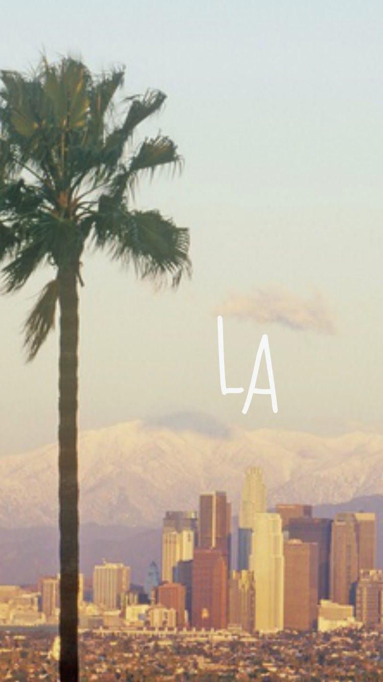 Sunny Pastel La View Palm Tree Iphone Wallpaper Background