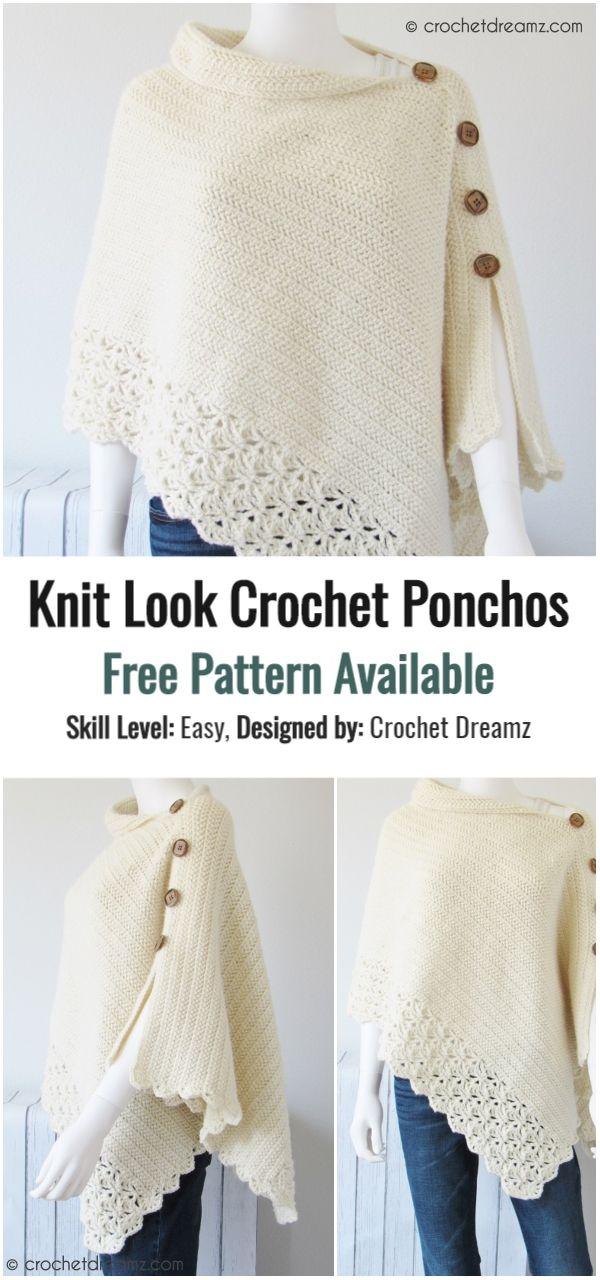 Knit Look Crochet Poncho Ideas with Free Patterns | Crochet Valley #crochetponchokids