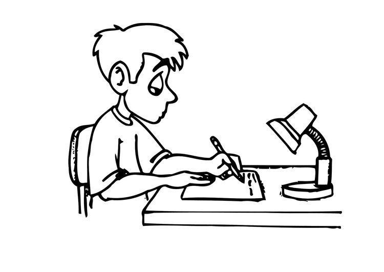 Dibujo Para Colorear Escribir Deberes Img 12158