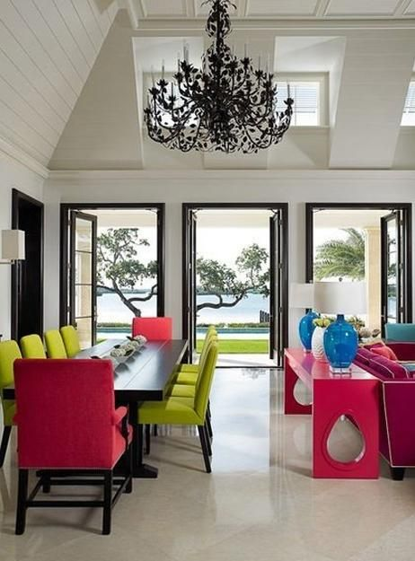 25 Ideas For Modern Interior Decorating With Bright Neon Colors Modern Dining Room Modern Interior Decor Room Colors Top tropical dining rooms vibrant