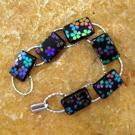 Fused Glass Link Bracelet Dichroic Glass Bracelet by GlassCat, $30.00