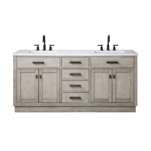 Water Creation Chestnut 72 In W X 21 5 In D Vanity In Grey Oak With Marble Vanity Top In White With White Basin Ch72a 0300gk The Home Depot In 2020 Marble Vanity