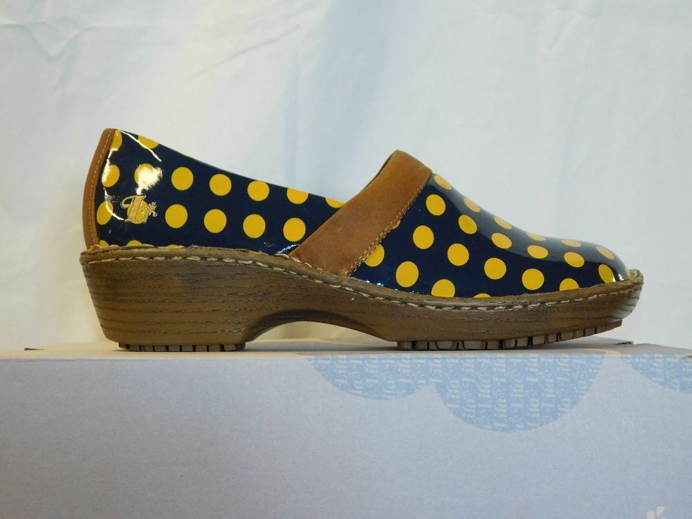 90fbb5e1b4dd Lila Women s work shoe clog size 6 1 2 Sure Grip navy w  yellow polka dots   fashion  clothing  shoes  accessories  wholesalelargesmalllots   womensshoes ...