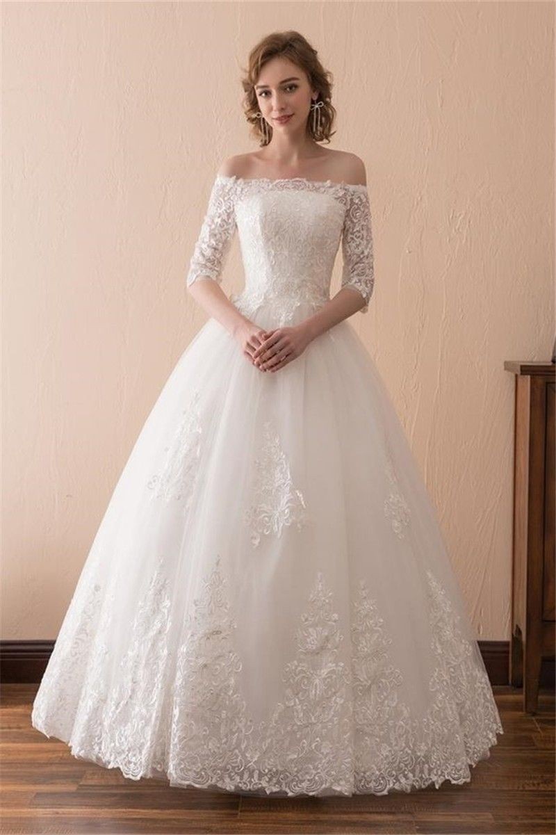 Ball gown off the shoulder tulle lace floor length wedding dress