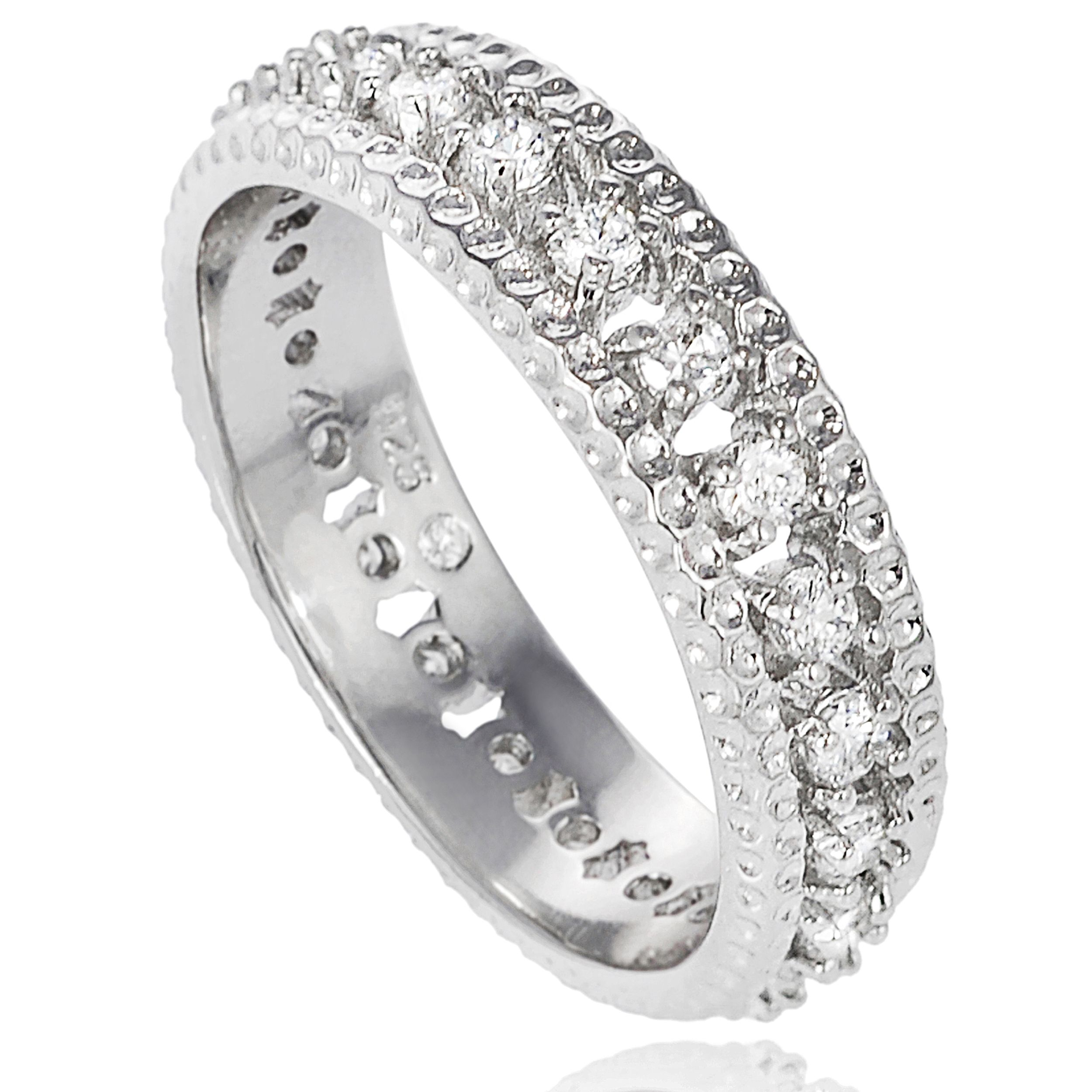 Tressa cubic zirconia band  Sterling silver jewelry  Click here for ring sizing guide