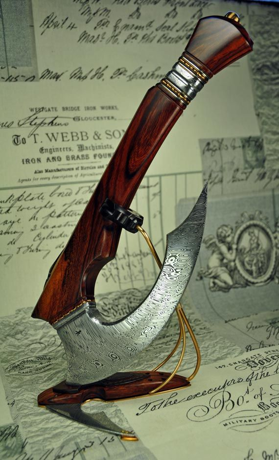 The Horizon - Tenth Anniversary axe in Damasteel, Bronze and Ironwood.  www.magnusaxelsonknives.com