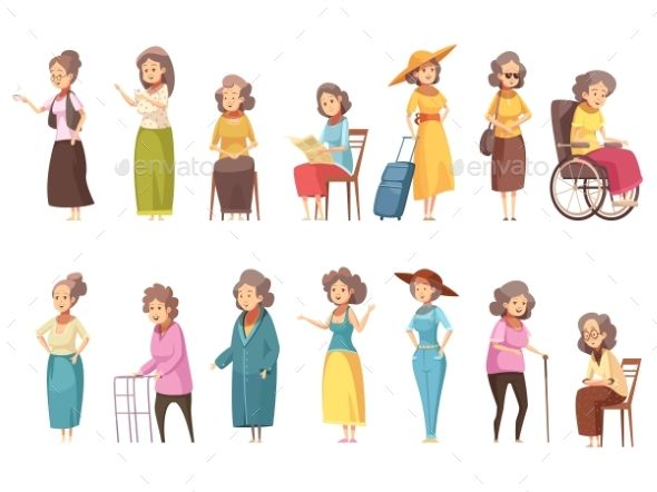 4fb91dd6318fb Senior woman disable old citizens with walking cane retro cartoon icons 2  banners set isolated vector illustration. Editable EPS a