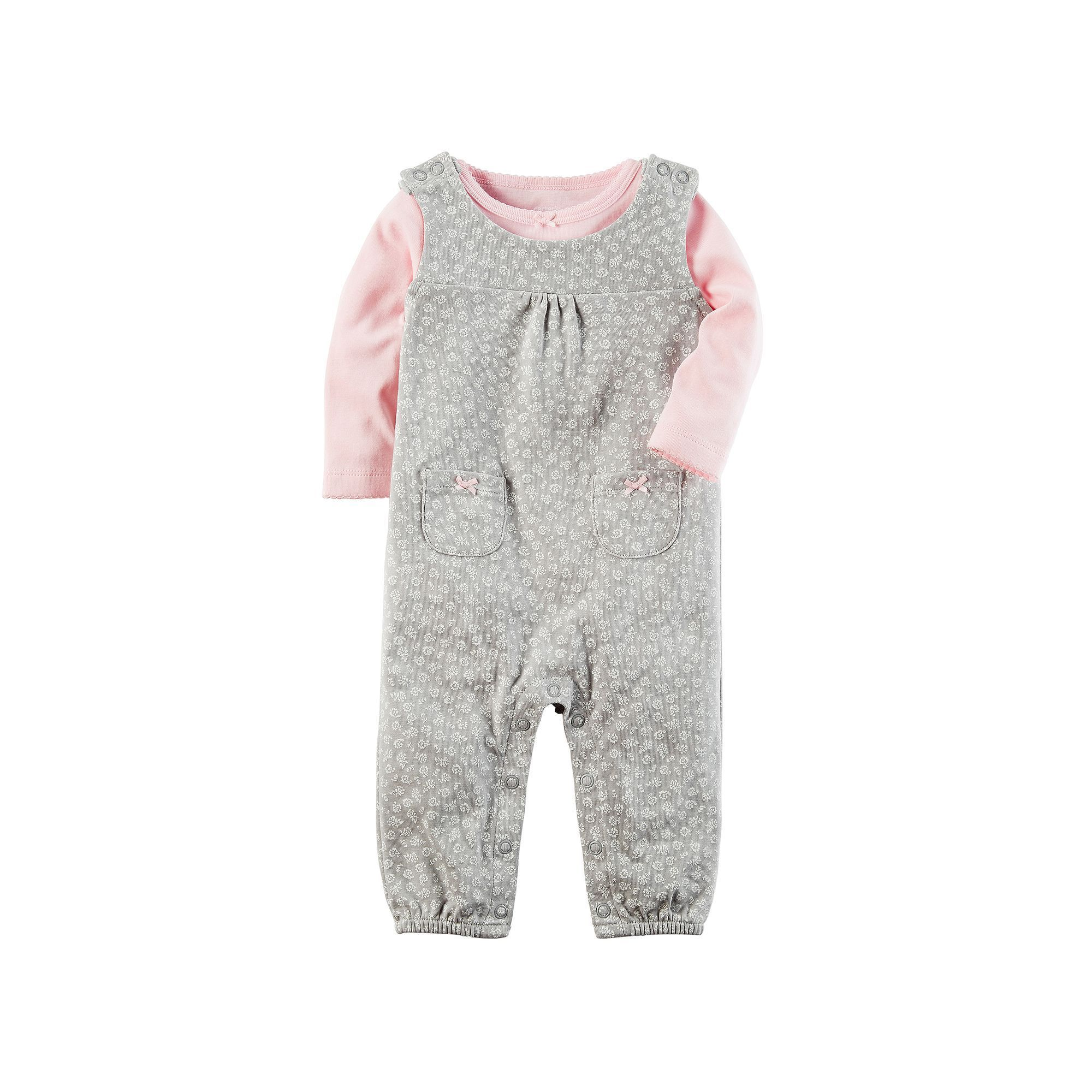Baby Girl Carter s Tee & Floral Coverall Set Size 3 Months Pink