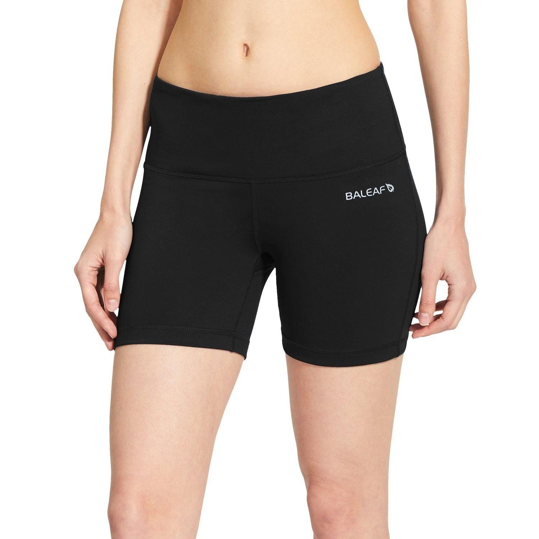 "Women's 5"" High Waist Workout Yoga Shorts Tummy Control Inner Pocket for 5.5"" Mobile Phone - Black -..."
