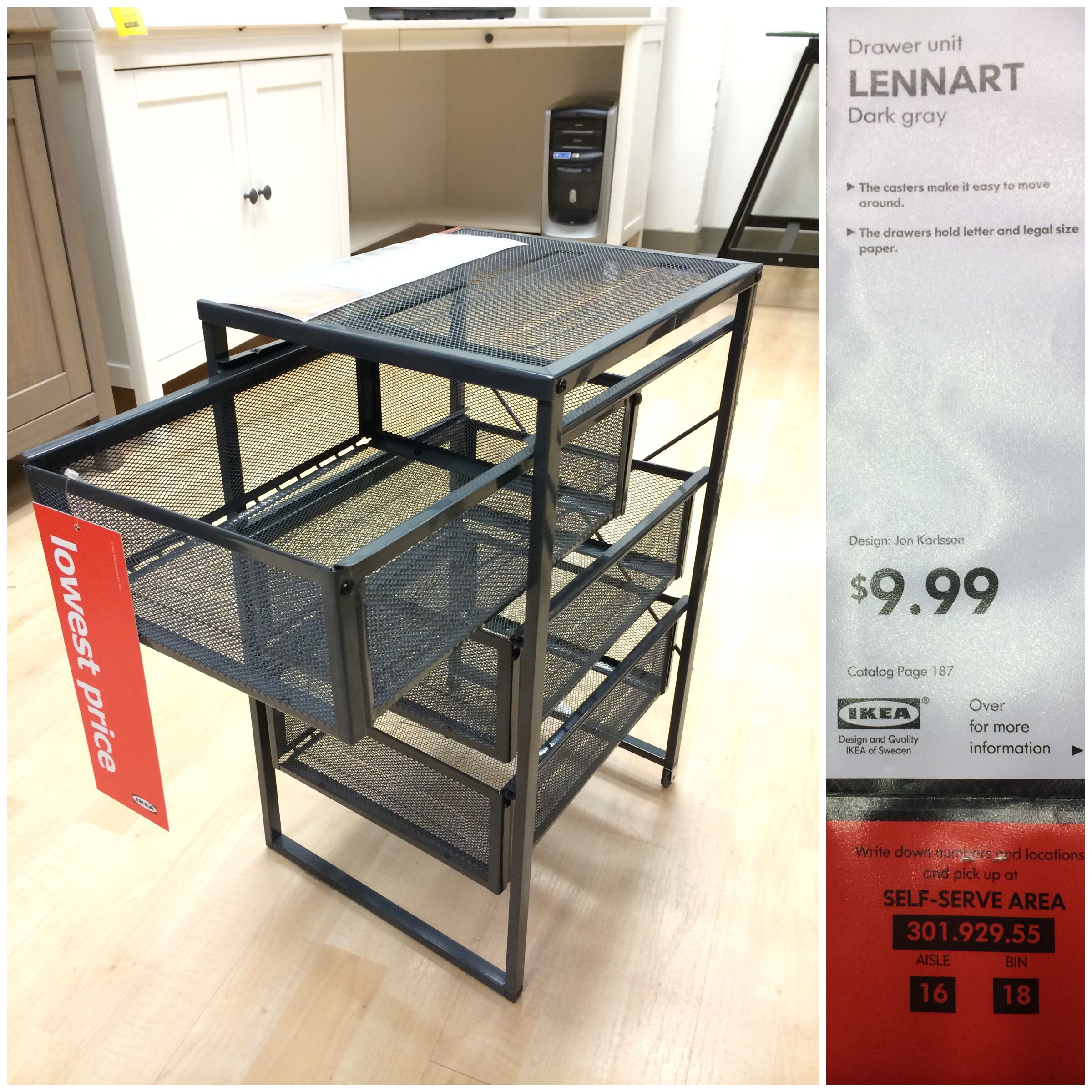 Drawer unit Lennart dark gray $9 99 with casters