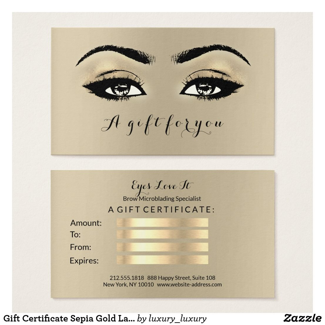 Gift Certificate Sepia Gold Lashes Makeup Artist Zazzle