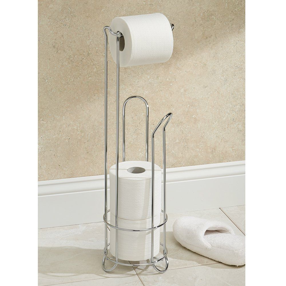 Great Way To Organize And Store Extra Toilet Paper Rolls Interdesign Classico Free Free Standing Toilet Paper Holder Toilet Paper Holder Stand Toilet Paper