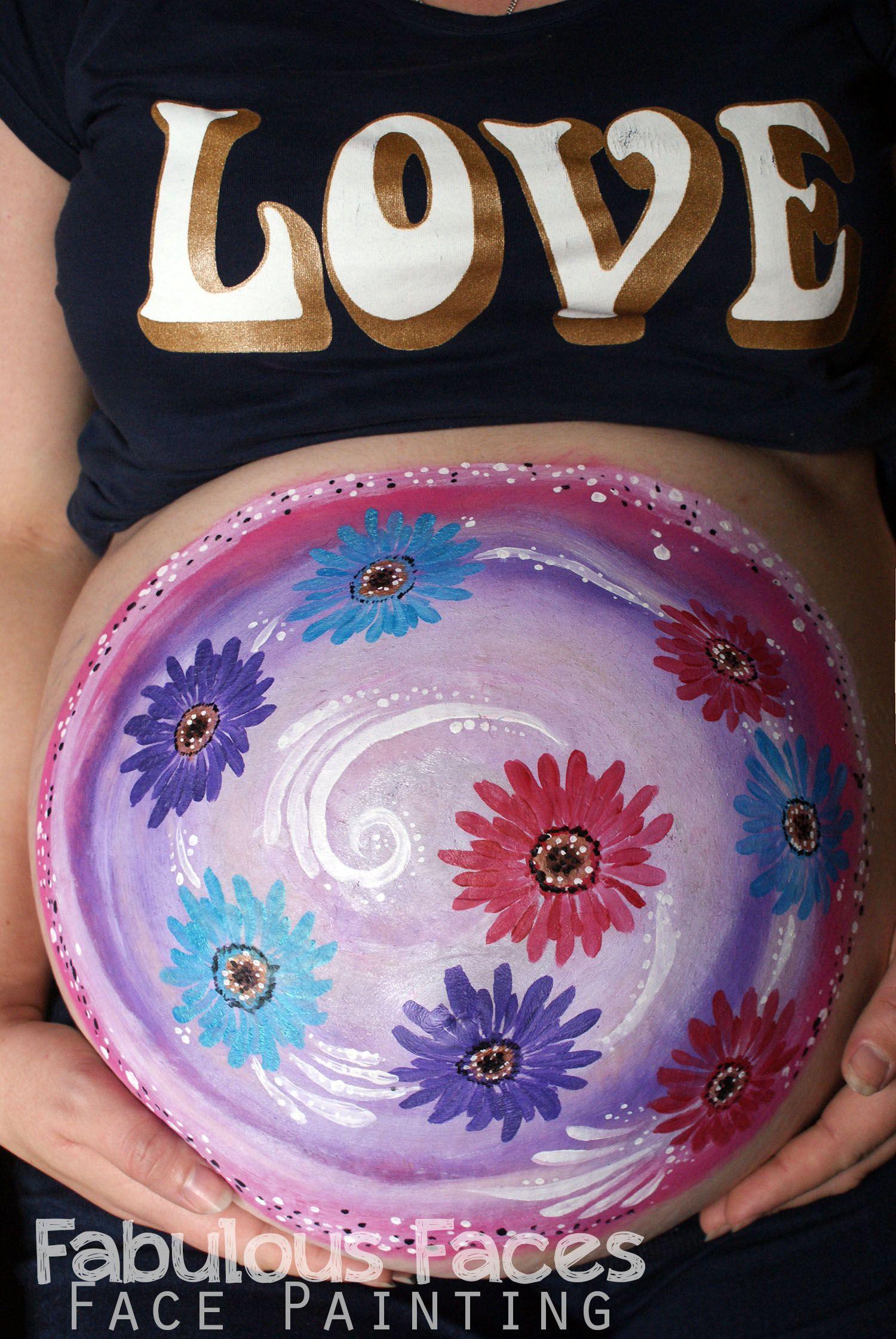 Gerbera flowers baby belly paint design