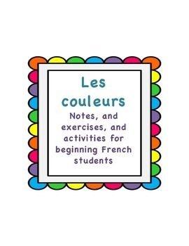 french colors exercises activities and notes for beginners
