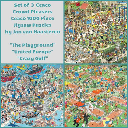 3 Puzzle Set Ceaco Crowd Pleasers 1000 Piece Jigsaw Puzzles, The