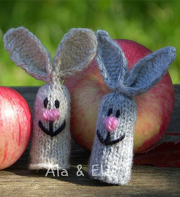 Free Knitting Pattern for Hare Finger Puppets - Easy puppets about 9 ...