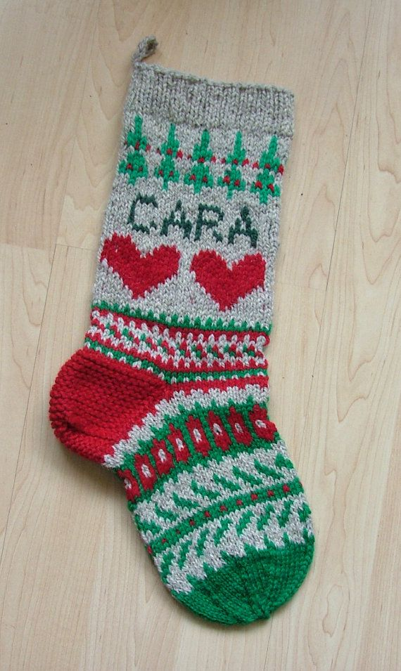 Hand-knit Christmas stocking, personalized with name and ...
