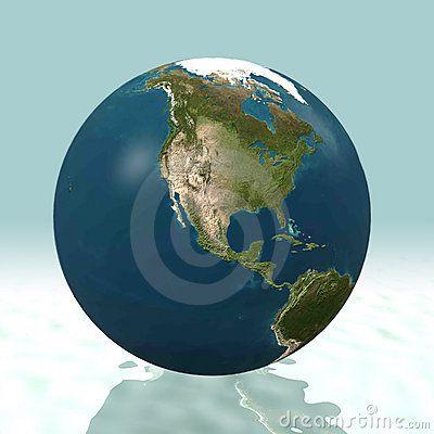 Conecte a tierra el globo del mundo en 3D, haciendo frente a Norteamérica