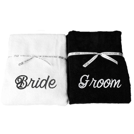 Mr Mrs His Hers Towels Set Of Two Beach Bath Pool Towels