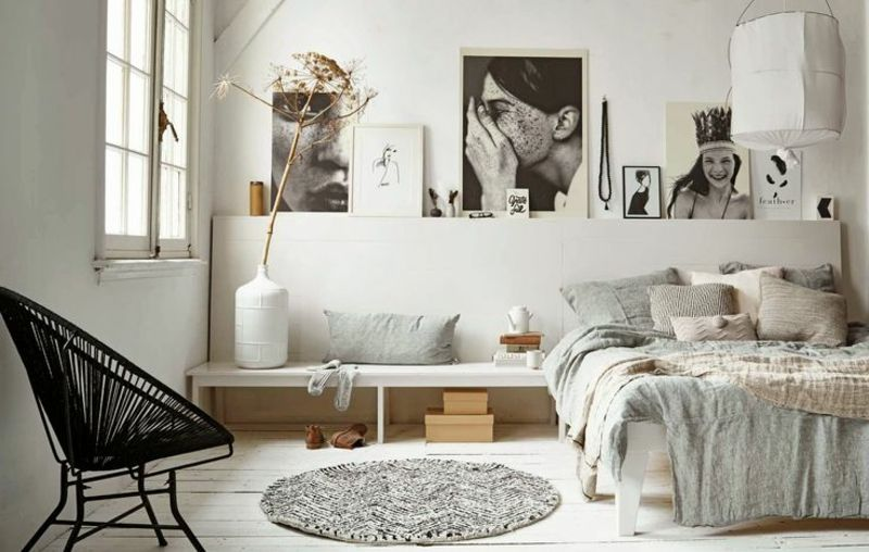 Schlafzimmer-Wanddeko mit schwarz-weißen Bildern Schlafzimmer - wanddeko für schlafzimmer
