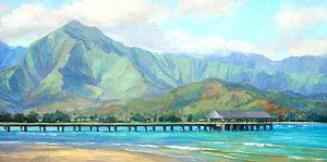 Hawaii Painting - Hanalei Pier by Jenifer Prince