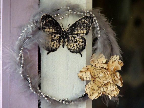 Couronne Butterfly perles et fleurs de livre par MilYDdeFil sur Etsy